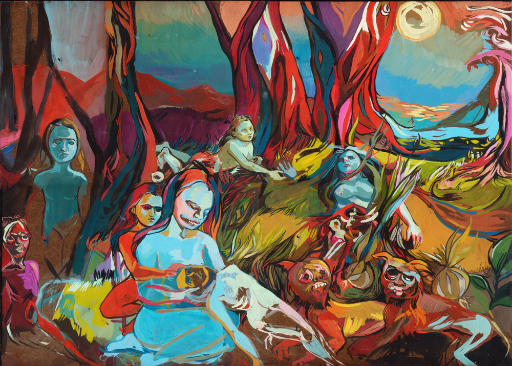 Painting showing the beauty and the fearfulness in the world