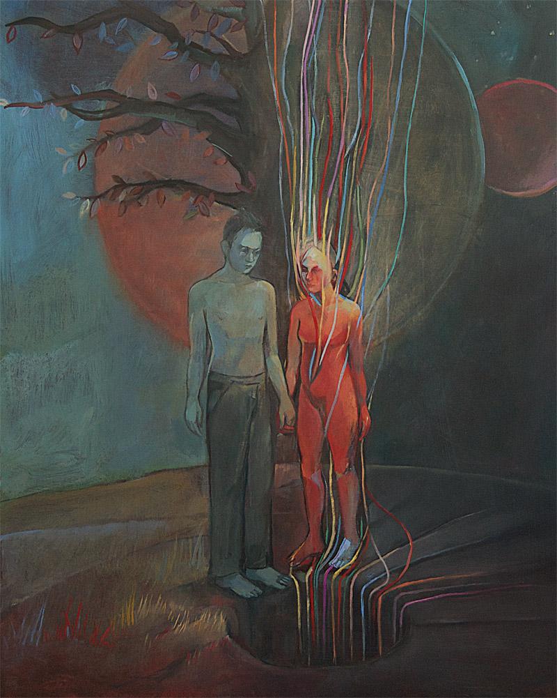 Kundalini Moon - mystical oil painting